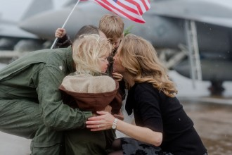 Emotional Rainy Day Navy Pilot Family Homecoming